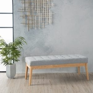 Christopher Knight Living Anglo Light Grey Fabric Bench