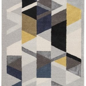 Apex Handmade Geometric Light Gray & Multicolor Area Rug