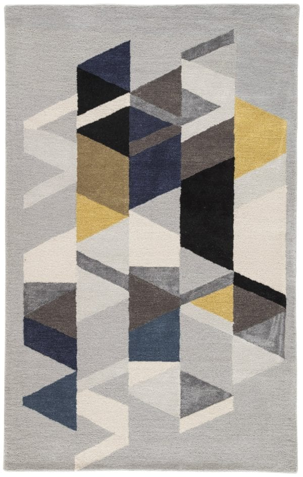 Apex Handmade Geometric Light Gray & Multicolor Area Rug