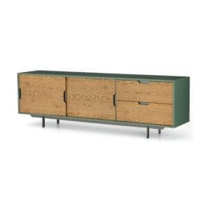 Tucker Large Media Console in Sage Lacquer